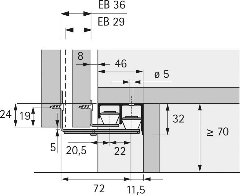 Schiebetürbeschlag unten  Schiebetürbeschlag unten Hettich STB 11 · Jetzt kaufen im LAYER ...
