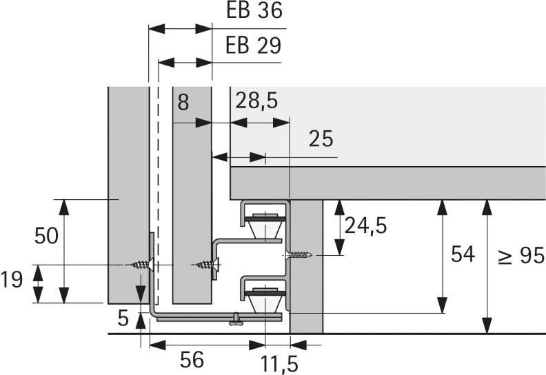 Schiebetürbeschlag unten  Schiebetürbeschlag unten Hettich STB 12 · Jetzt kaufen im LAYER ...